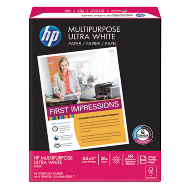 "Hewlett-Packard 112000CT 8 1/2"" x 11"" White Case of 20# Multipurpose Paper - 5000/Sheets"