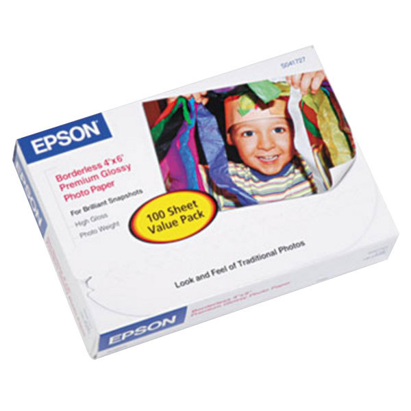"""Epson S041727 4"""" x 6"""" High-Gloss Premium Pack of 68# Photo Paper - 100 Sheets"""