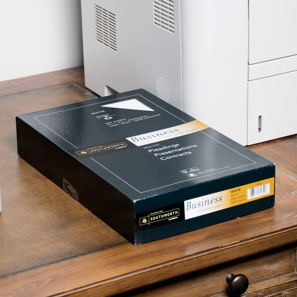 "Southworth 403E 8 1/2"" x 14"" White Ream of 20# 25% Cotton Business Paper, Legal - 500 Sheets"