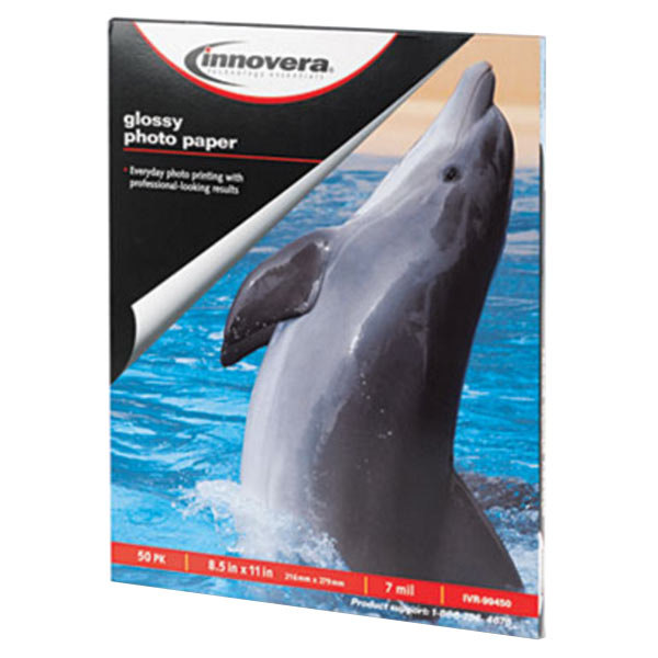 """Innovera IVR99450 8 1/2"""" x 11"""" Glossy Pack of 7 mil Photo Paper - 50 Sheets"""