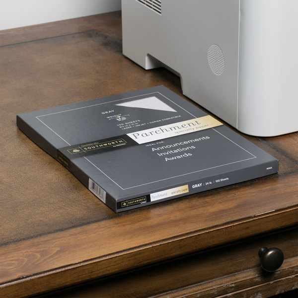 """Southworth P974CK336 8 1/2"""" x 11"""" Gray Pack of 24# Parchment Specialty Paper - 100 Sheets Main Image 5"""