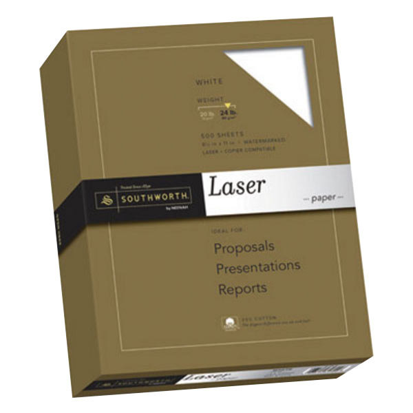 """Southworth 3172410 8 1/2"""" x 11"""" White Ream of 25% Cotton 24# Laser Paper - 500 Sheets Main Image 1"""