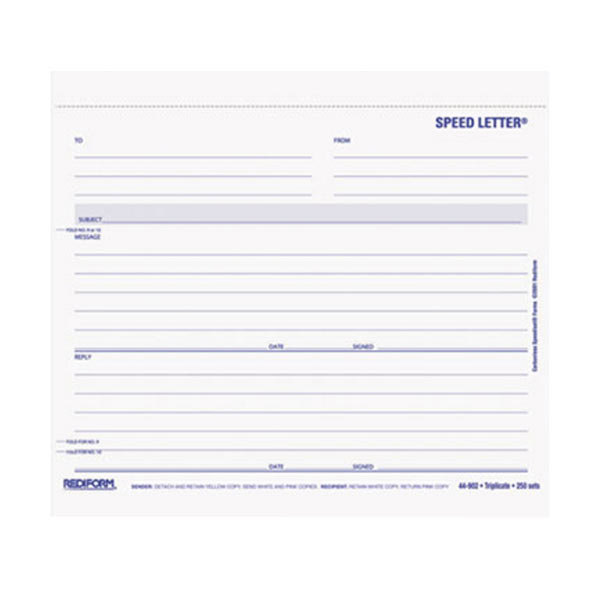"""Rediform Office 44902 7"""" x 8 1/2"""" 3-Part Carbonless Speed Letter - 250/Pack Main Image 1"""