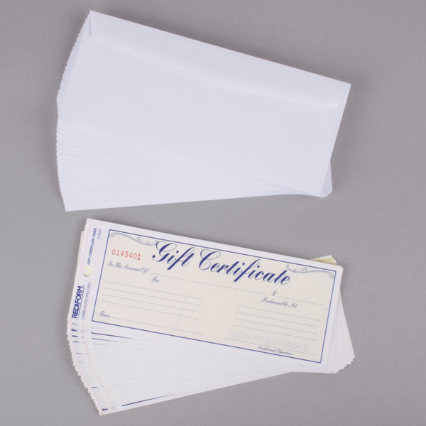 rediform office 98002 blue and gold gift certificate with envelope