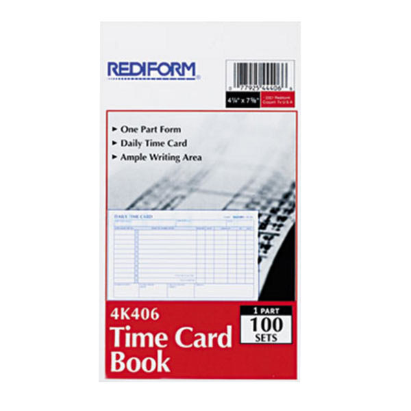 rediform office 4k406 two sided daily employee time card book 100