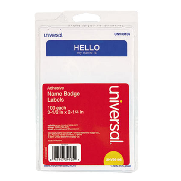 "Universal UNV39105 2 1/4"" x 3 1/2"" White ""Hello"" Write-On Self-Adhesive Name Badge with Blue Border - 100/Pack Main Image 1"
