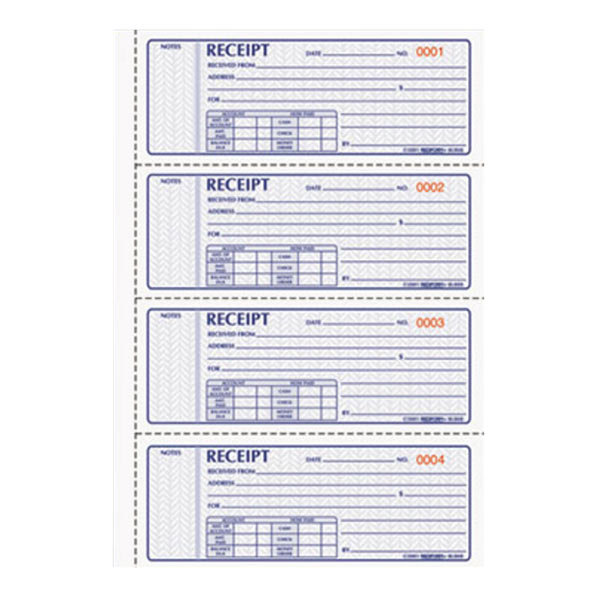Rediform Office 8L808R 3-Part Carbonless Numbered Receipt Book with 100 Sheets Main Image 1