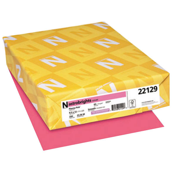 """Astrobrights 22129 8 1/2"""" x 11"""" Plasma Pink Pack of 65# Smooth Color Paper Cardstock - 250 Sheets Main Image 1"""