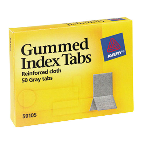 "Avery 59105 7/16"" x 13/16"" Gray Reinforced Cloth Gummed Index Tabs - 50/Pack"