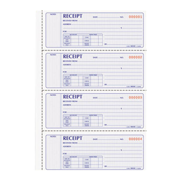 Rediform Office 8L806 2-Part Carbonless Soft Cover Numbered Receipt Book with 200 Sheets Main Image 1