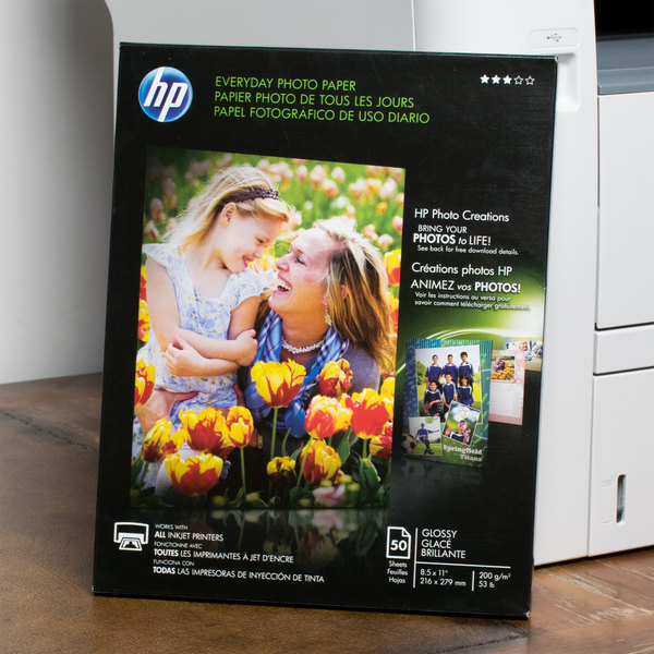 "Hewlett-Packard Q8723A 8 1/2"" x 11"" Glossy Everyday Pack of 8 mil Photo Paper - 50 Sheets Main Image 5"