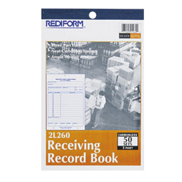 "Rediform Office 2L260 Receiving Record Book, 5 9/16"" x 7 15/16"" Three-Part Carbonless, 50 Sets/Book Main Image 1"