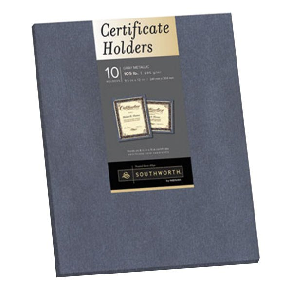 """Southworth 98869 8 1/2"""" x 11"""" Gray Pack of Certificate Holders - 10 Sheets Main Image 1"""