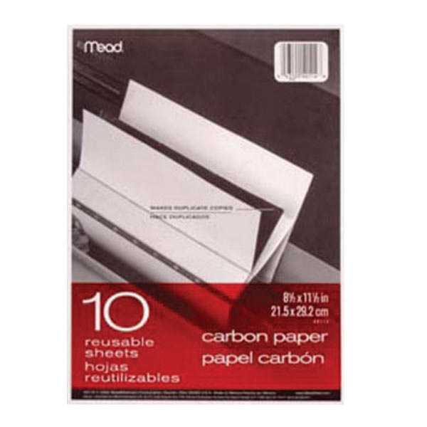 """Mead 40114 8 1/2"""" x 11"""" Mill Finish Pack of Carbon Paper - 10 Sheets"""