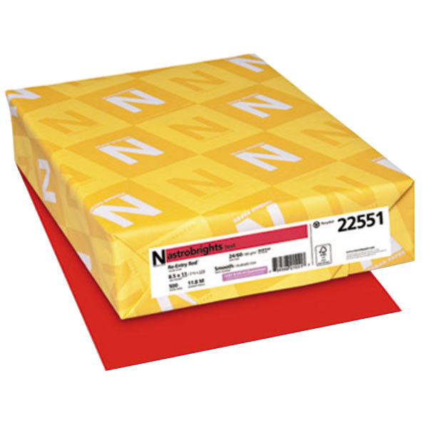 """Astrobrights 22551 8 1/2"""" x 11"""" Re-Entry Red Ream of 24# Smooth Color Copy Paper - 500 Sheets"""