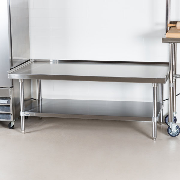 "Advance Tabco ES-245 24"" x 60"" Stainless Steel Equipment Stand with Stainless Steel Undershelf"