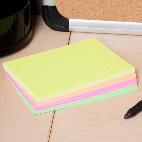 """Universal UNV47237 4"""" x 6"""" Neon Glow Ruled Index Cards - 100/Pack"""