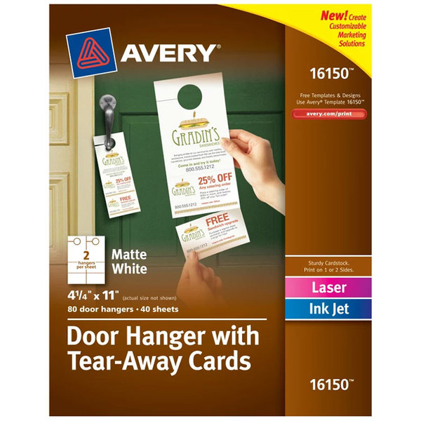 """Avery 16150 4 1/4"""" x 11"""" Printable Door Hanger with Tear-Away Cards - 80/Pack Main Image 1"""