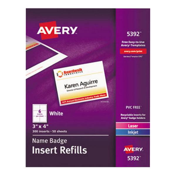 """Avery 5392 3"""" x 4"""" White Badge Holder Laser / Inkjet Insert Refills - 300/Box"""