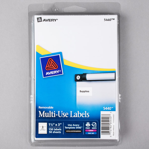 "Avery 5440 1 1/2"" x 3"" White Rectangular Removable Write-On / Printable Labels - 150/Pack"