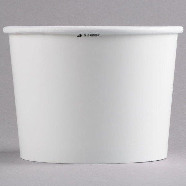 Huhtamaki Chinet 60164 64 oz. Double-Wall Poly White Paper Soup / Hot Food Cup  - 250/Case