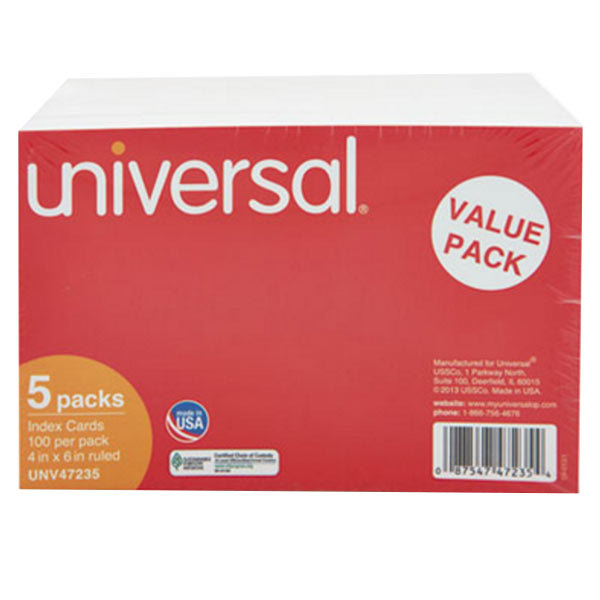"""Universal UNV47235 4"""" x 6"""" White Ruled Index Cards - 500/Pack Main Image 1"""
