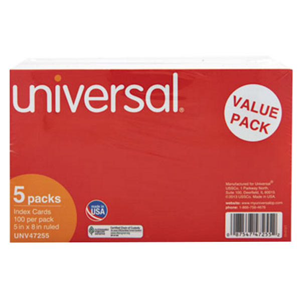 """Universal UNV47255 5"""" x 8"""" White Ruled Index Cards - 500/Pack"""