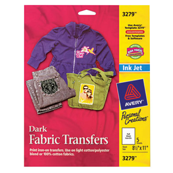 """Avery 3279 8 1/2"""" x 11"""" Printable Pack of Dark Fabric Transfers - 5 Sheets"""