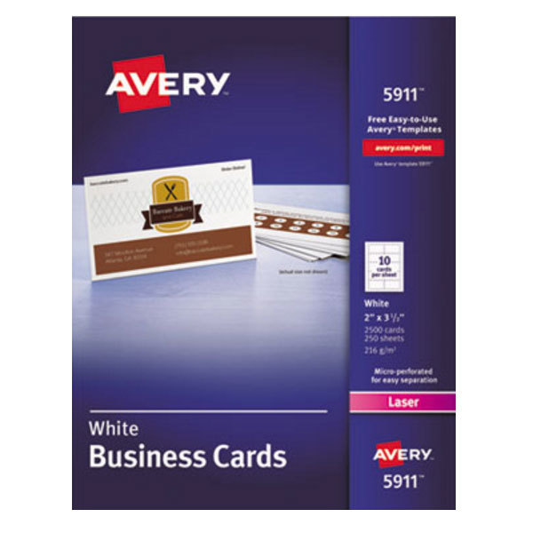 "Avery 5911 2"" x 3 1/2"" Uncoated White Microperf Business Card - 2500/Pack"