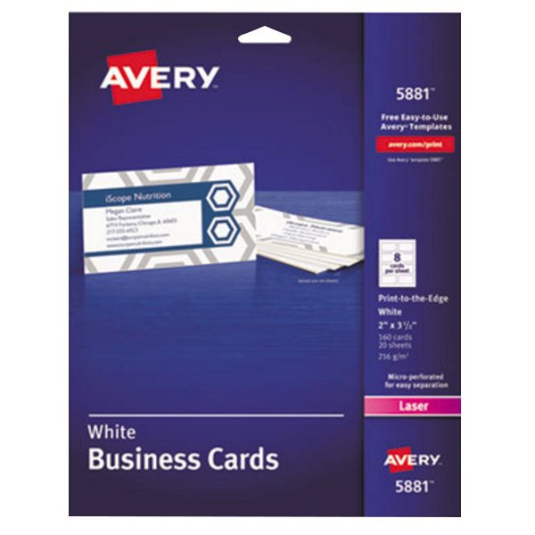 "Avery 5881 2"" x 3 1/2"" Uncoated White Print-to-the-Edge Microperf Business Cards - 160/Pack"