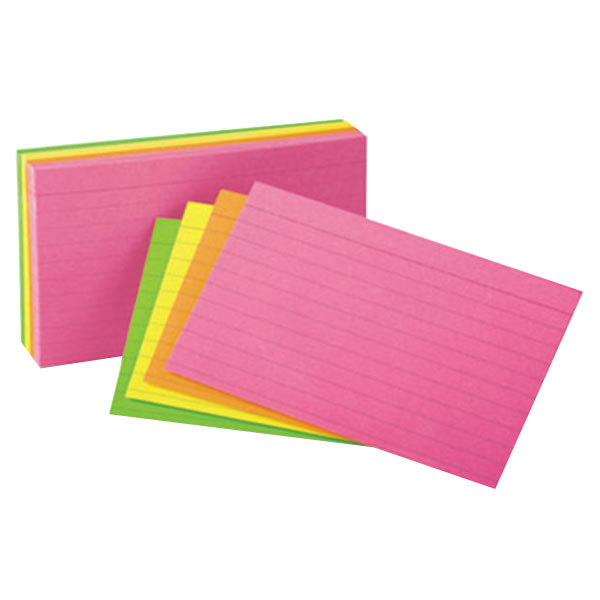 "Universal UNV47257 5"" x 8"" Neon Glow Ruled Index Cards - 100/Pack Main Image 1"