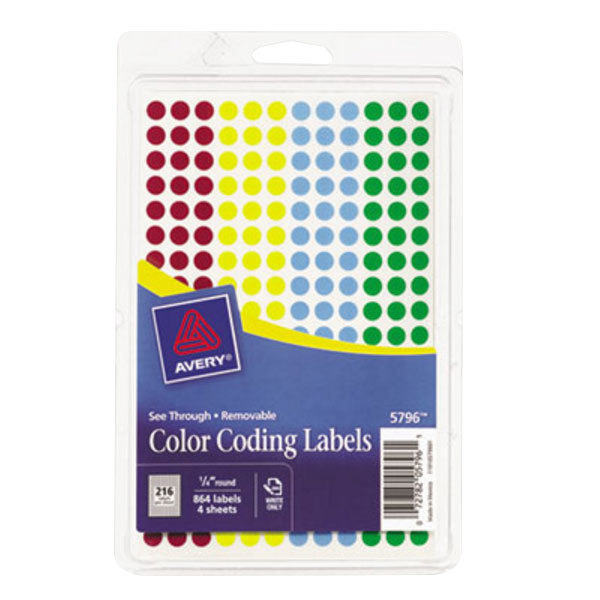 """Avery 5796 1/4"""" Round Assorted Removable See-Through Color Coding Dot Labels - 864/Pack Main Image 1"""