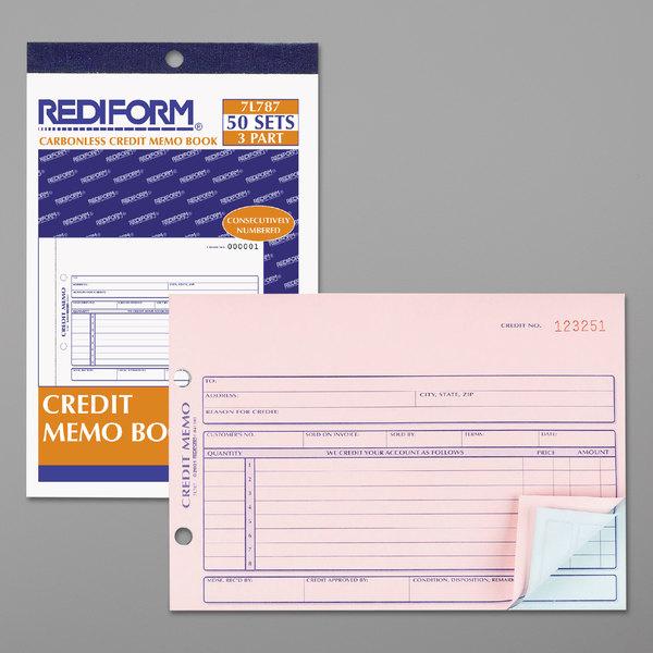 "Rediform Office 7L787 Credit Memo Book, 5 1/2"" x 7 7/8"" Three-Part Carbonless, 50 Sets/Book"