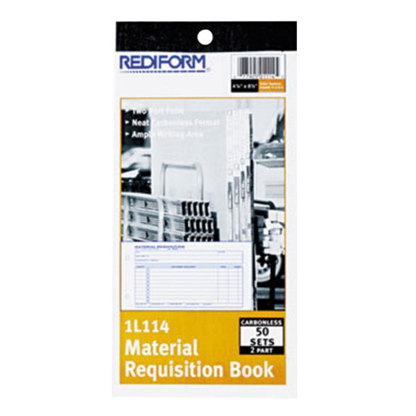 "Rediform Office 1L114 Material Requisition Book, 7 7/8"" x 4 1/4"" 2-Part Carbonless, 50-Set Book"