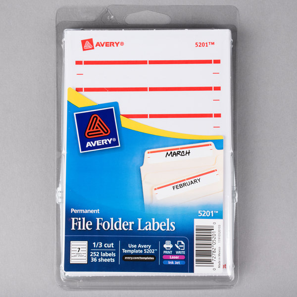Pack of 252 1//3 Cut 5201 Avery File Folder Labels for Laser and Inkjet Printers Red