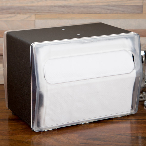 Vollrath 7516-06 Black Two Sided Tabletop Fullfold Napkin Dispenser with Clear Faceplate