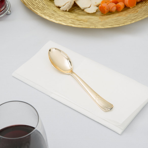 """Gold Visions 6 1/2"""" Gold Look Heavy Weight Plastic Spoon - 400/Case"""