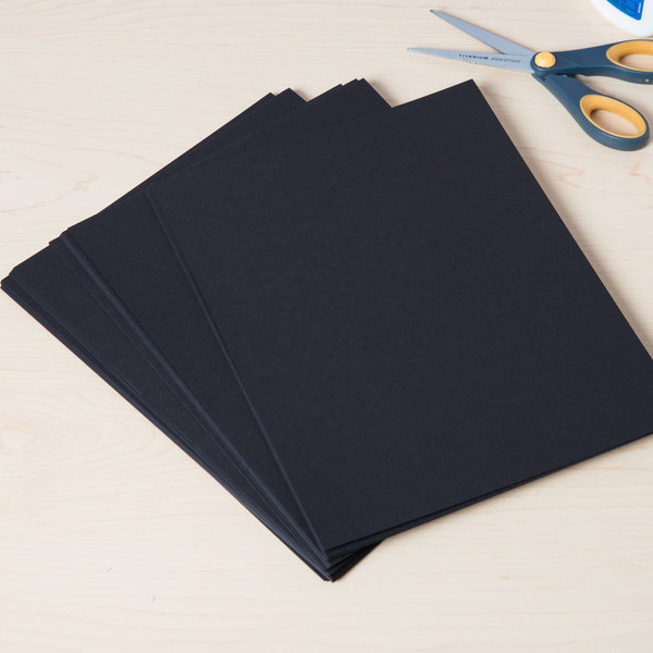 "Astrobrights 2202401 8 1/2"" x 11"" Eclipse Black Pack of 65# Smooth Color Paper Cardstock - 100/Pack"
