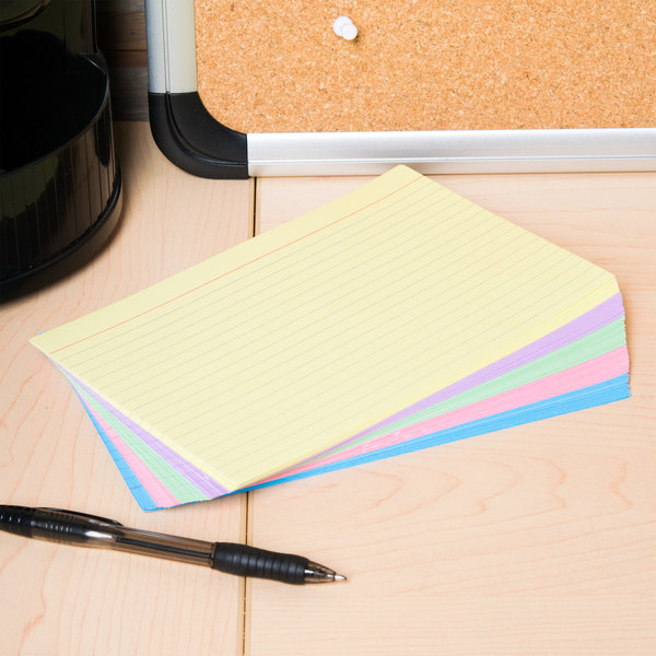 """Universal UNV47256 5"""" x 8"""" Assorted Color Ruled Index Cards - 100/Pack"""