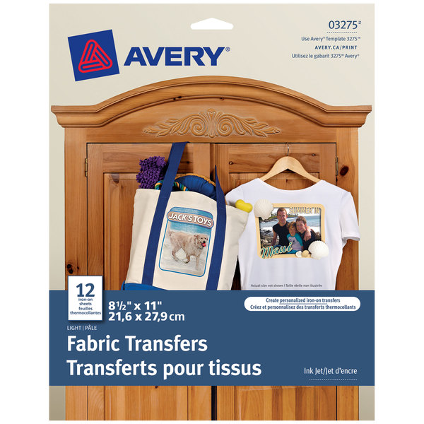 "Avery 3275 8 1/2"" x 11"" Printable Light Pack of T-Shirt Transfers - 12 Sheets Main Image 1"