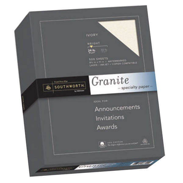 """Southworth 934C 8 1/2"""" x 11"""" Ivory Ream of 24# 25% Cotton Granite Specialty Paper - 500 Sheets Main Image 1"""