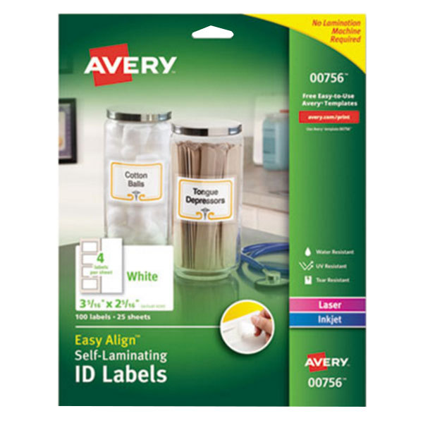 "Avery 756 Easy Align 2 5/16"" x 3 5/16"" White Rectangular Printable Self-Laminating ID Labels - 100/Pack"