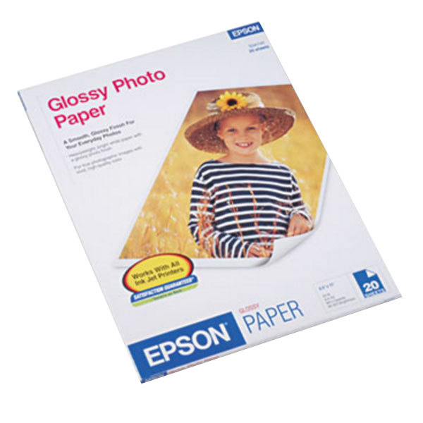 """Epson S041141 8 1/2"""" x 11"""" Glossy Pack of 60# Photo Paper - 20 Sheets"""