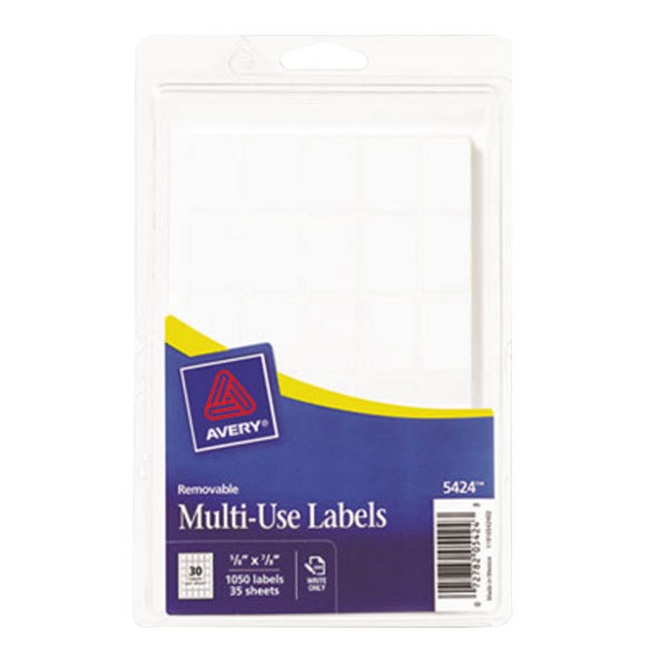 "Avery 5424 5/8"" x 7/8"" White Rectangular Removable Write-On Labels - 1050/Pack Main Image 1"