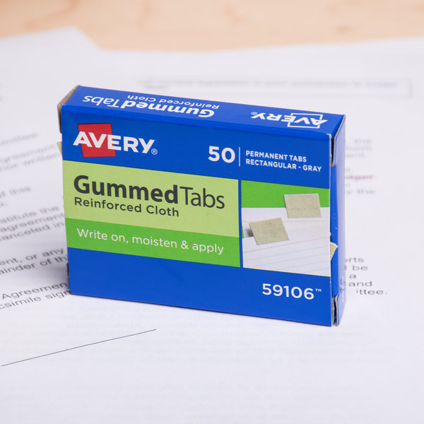 "Avery 59106 1"" x 13/16"" Gray Reinforced Cloth Gummed Index Tabs - 50/Pack Main Image 6"