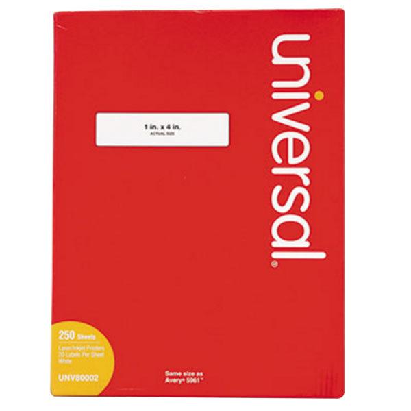 "Universal UNV80002 1"" x 4"" White Permanent Laser and Inkjet Printer Labels - 5000/Box Main Image 1"