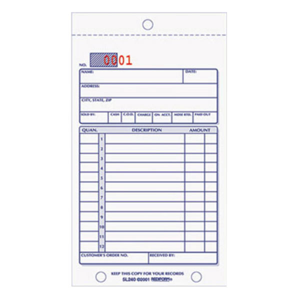 "Rediform Office 5L240 3 5/8"" x 6 3/8"" 2-Part Carbonless Sales Book 50 Forms"