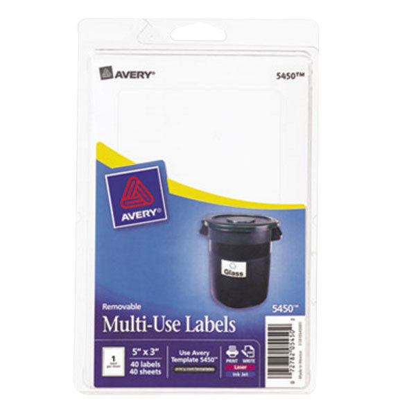"""Avery 5450 3"""" x 5"""" White Rectangular Removable Write-On / Printable Labels - 40/Pack"""