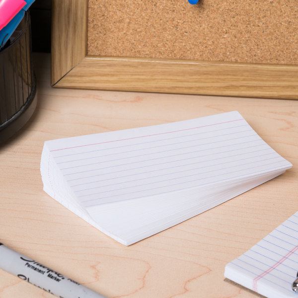 """Universal UNV47215 3"""" x 5"""" White Ruled Index Cards - 500/Pack"""