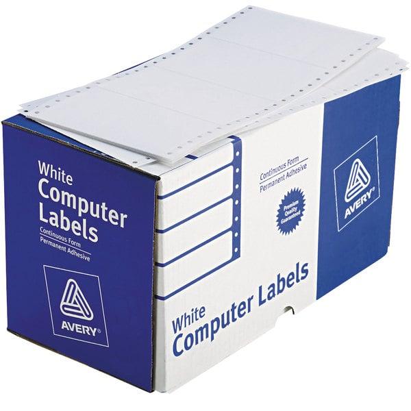 "Avery 4076 2 15/16"" x 5"" White Dot Matrix Shipping Labels - 3000/Box"